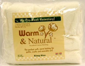 "Warm and Natural Cotton Batting - King Size 124"" x 120"""